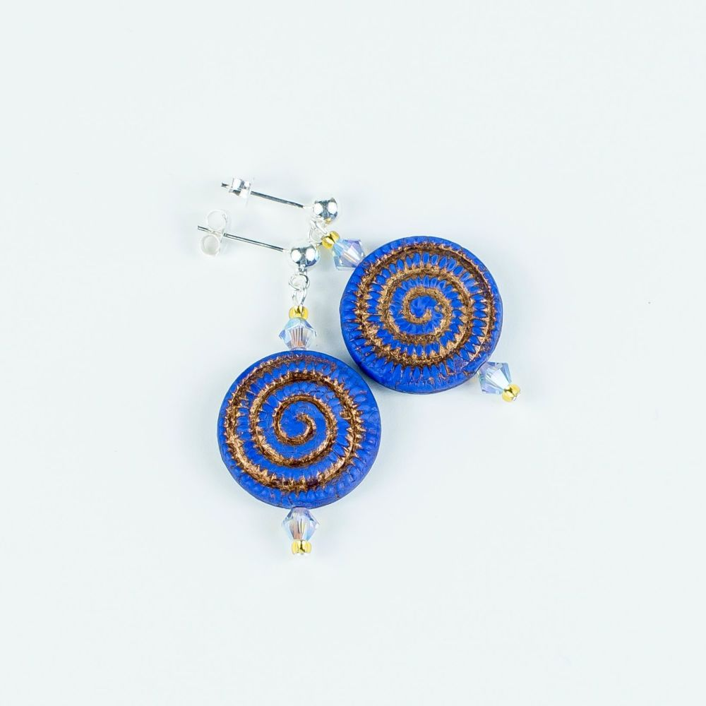 Vibrant blue and golden earrings