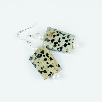 Dalmatian Jasper Hook Earrings With Pearls. Item RH017