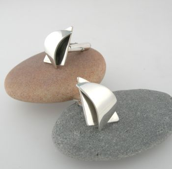 Silver sail spinaker cufflinks   Item EM34