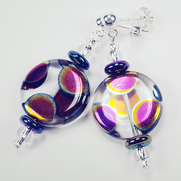 Multi Spot Clear Czech Glass Disc Earrings. Item RH022