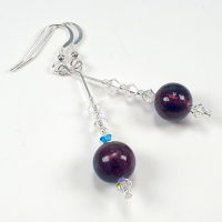 Burgundy Murano Glass  Hook Earrings. Item RH025