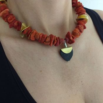 Coral Necklace, Gold Spacers And Lava Heart. Item KG001