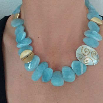 Silver, Aquamarine and Gold Plate Necklace. Item KG004