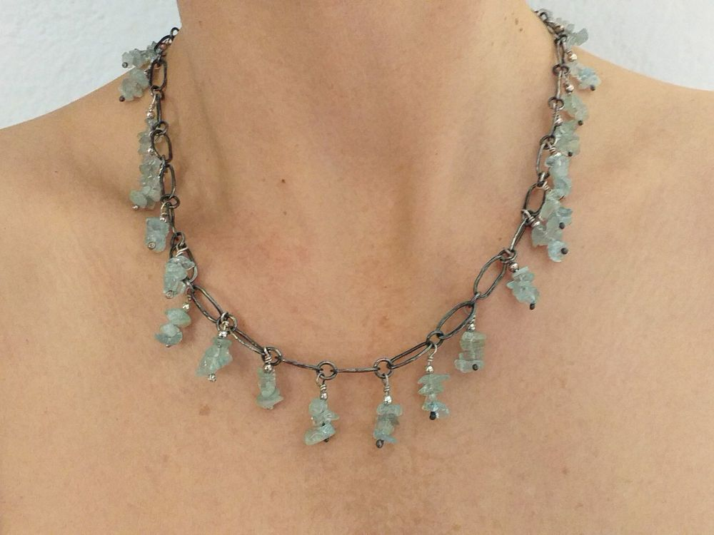 Necklace in Sterling Silver (Oxidized) with Aquamarine.  Item KG012