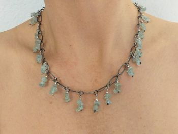Silver Necklace With Aquamarine.  Item KG012