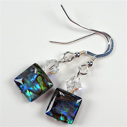 Abalone  and crystal earrings .  Item RH027
