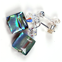 Abalone Shell and Crystal Post Earrings.  Item RH028
