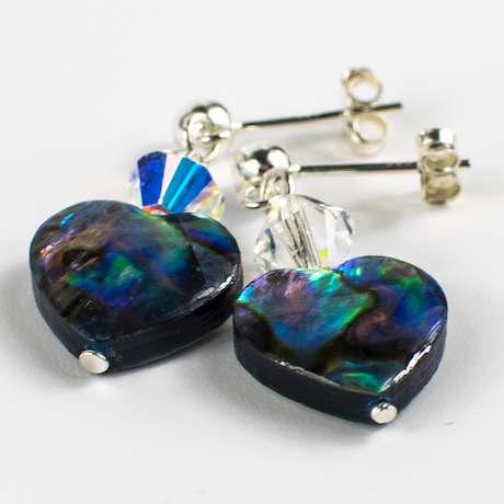 Abalone shell heart and crystal post earrings  Item RH 029
