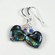 Abalone  Shell Heart  And Crystal Earrings. Item RH030