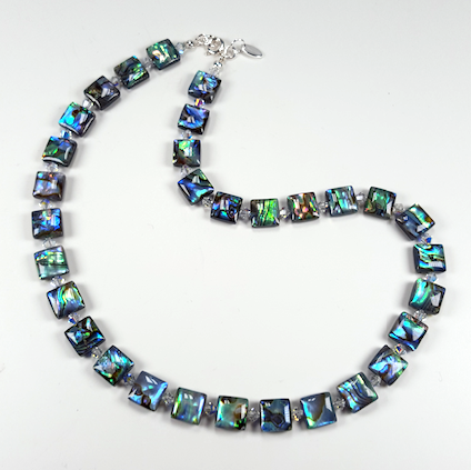 Abalone shell and crystal necklace. Item RH031