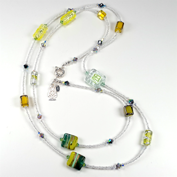 Lemon and Lime Lamp-Work Necklace.  Item RH032