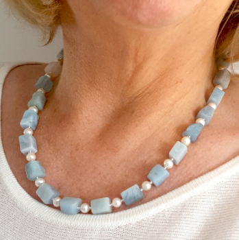 Exceptional Aquamarine and Pearl Necklace.  Item RH035