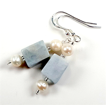 Aquamarine Nuggets and Pearls Earrings.  Item RH036
