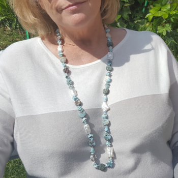 Larimar Nuggets and Pearls Necklace.  Item RH037