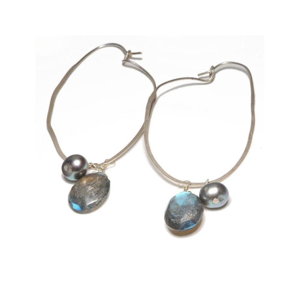 Long labradorite and pearls earrings.. Item CM018