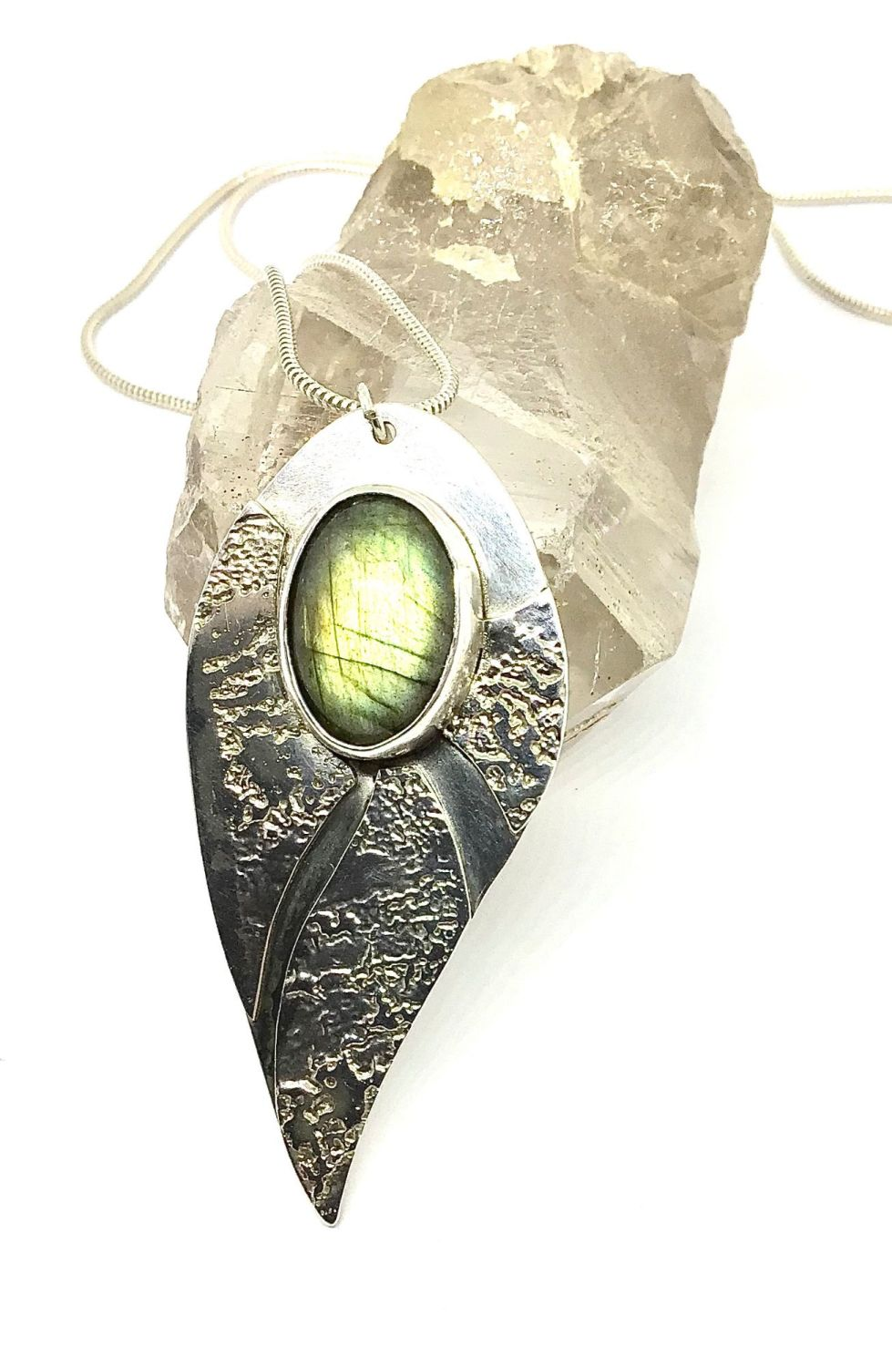Etched Silver Pendant With Labradorite Stone.  Item ECT008