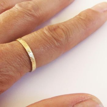 Yellow Gold Bark Ring . Item  CM021