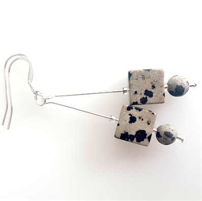 Dalmatian Jasper  Cube Hook Earrings. Item RH043