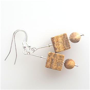Leopard Skin Jasper Cube Earrings.  Item RH044