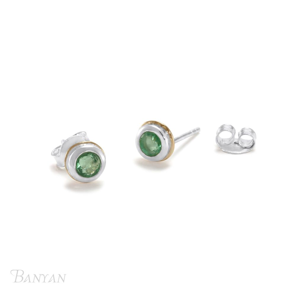 Silver and emerald earrings. Item No YZ001