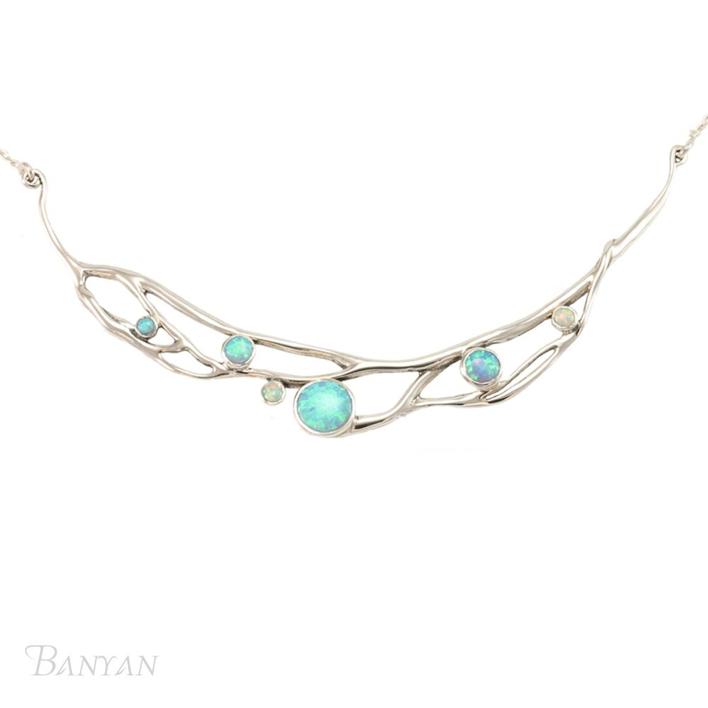 Silver necklace with Opalites. Item YZ002