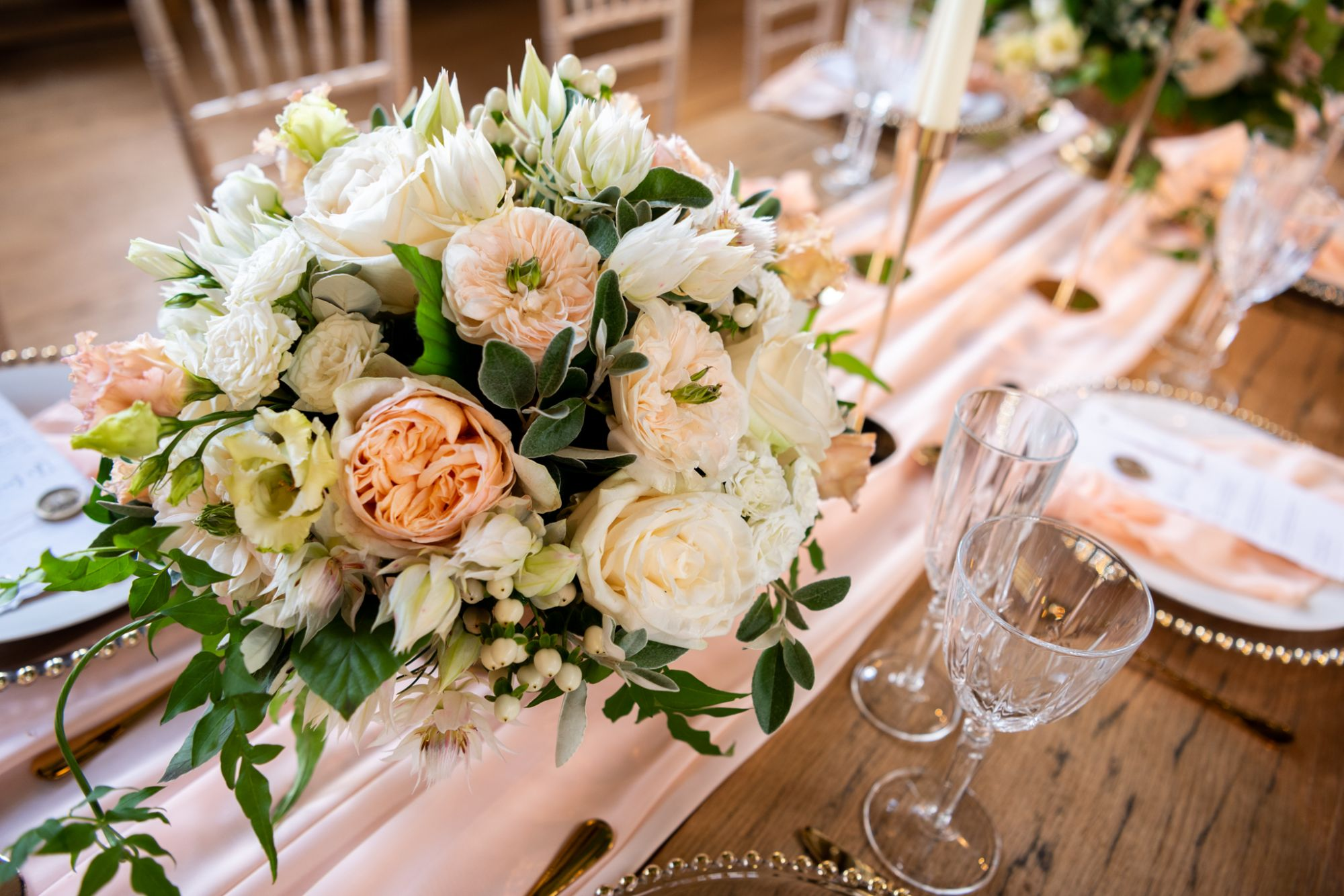 peach and cream wedding styling