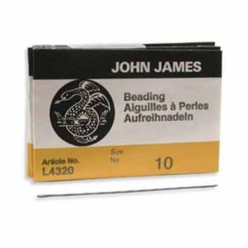Size 10 John James English Beading Needles - longs - pack of 25