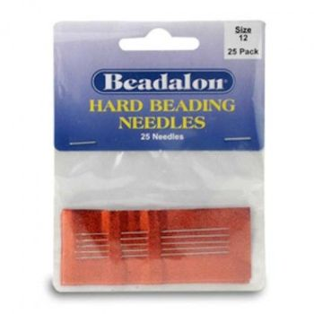 Size 12 Hard Beading Needles, 2.12 Inch, 25 Pack, from Beadalon