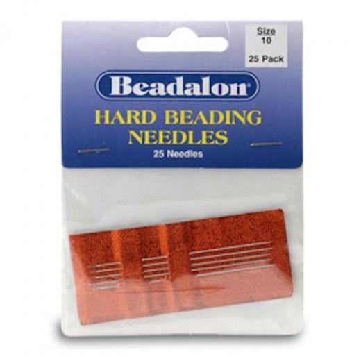 Size 10 Hard Beading Needles, 2.12 Inch, 25 Pack, from Beadalon