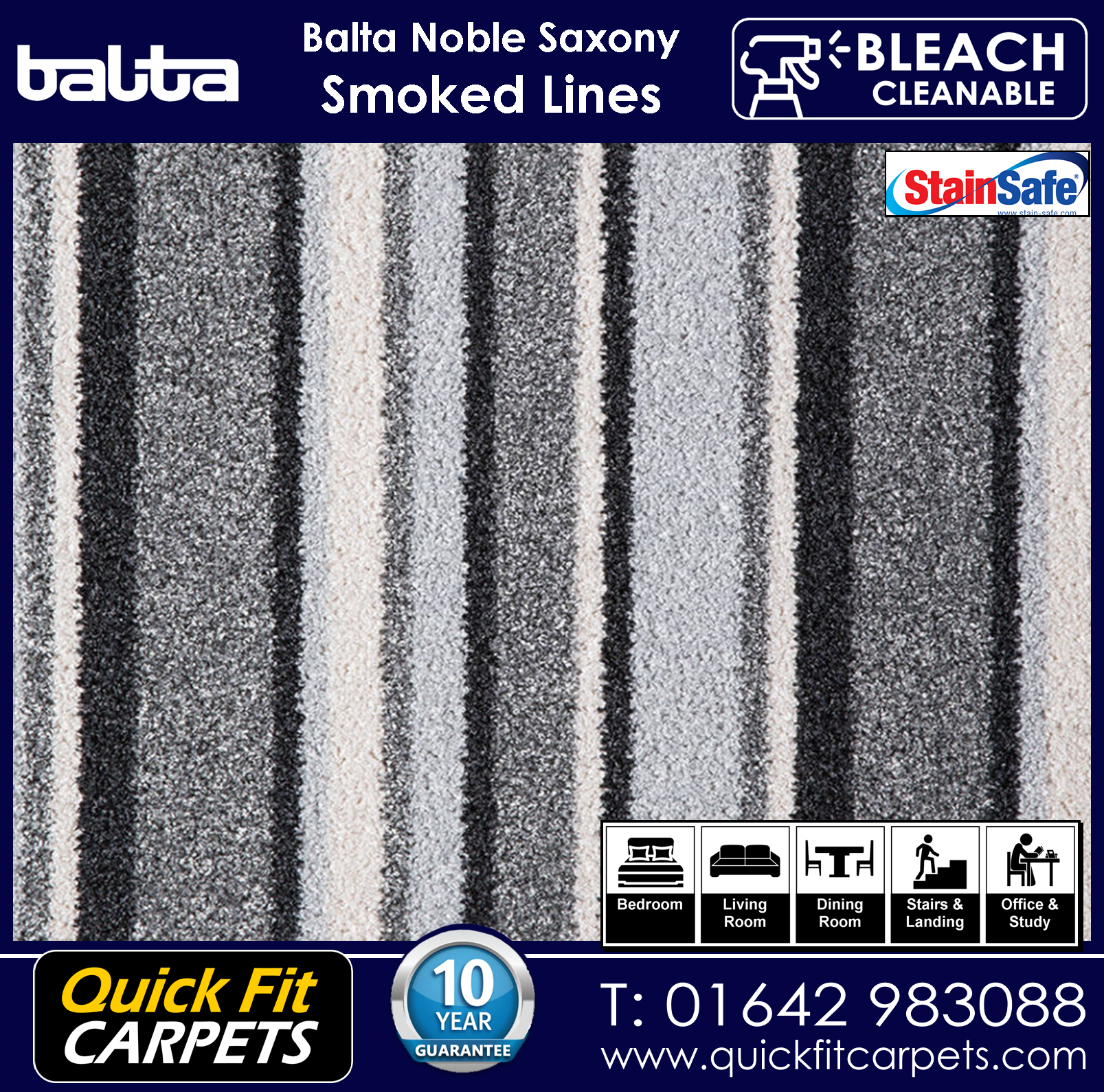 Quick Fit Carpets Balta Luxury Pile Smoked Lines