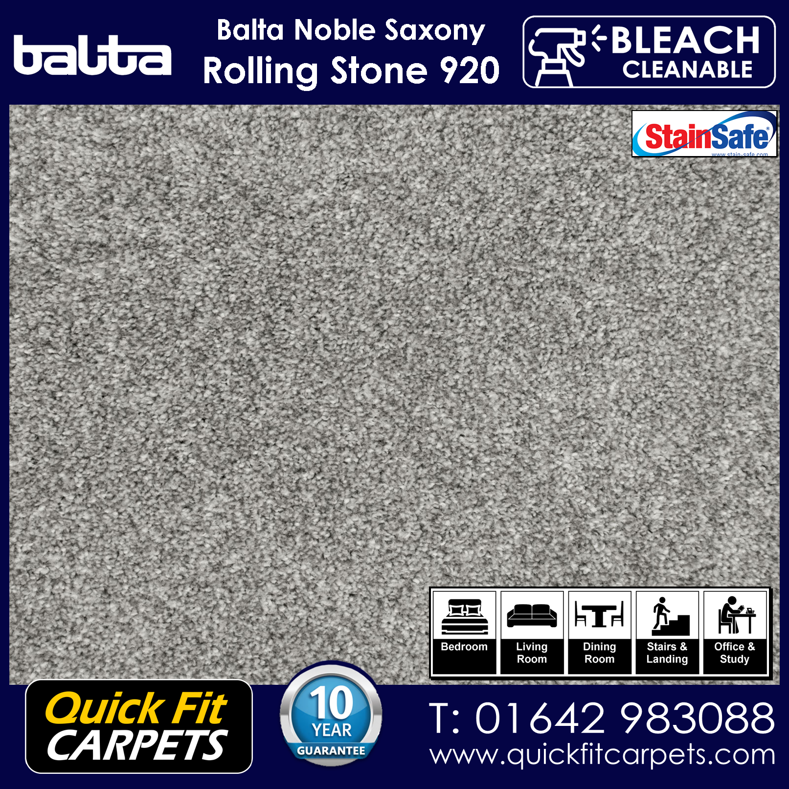 Quick Fit Carpets Balta Luxury Pile Rolling Stone 920