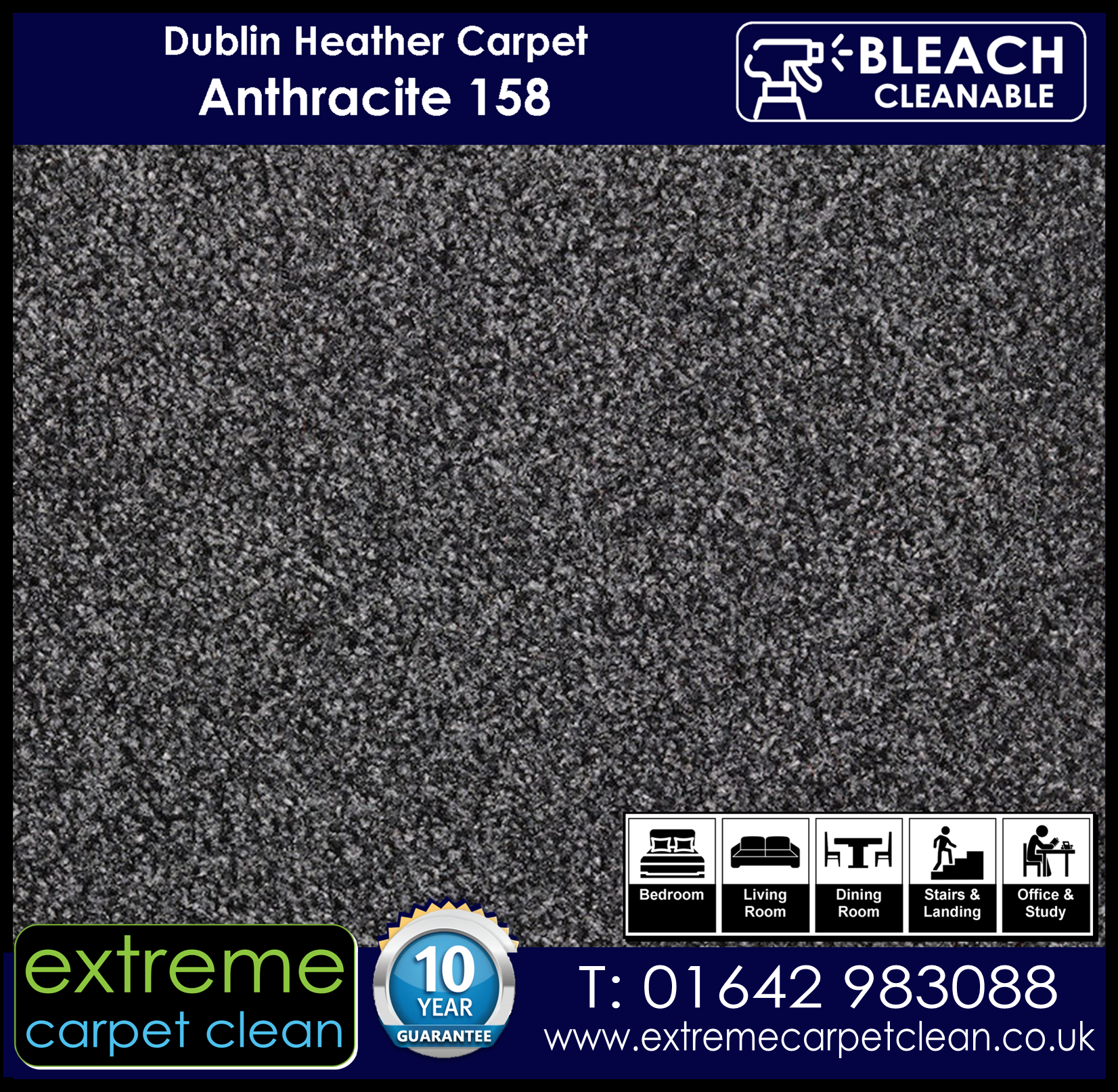 Extreme Carpet Clean Dublin Heather Carpet . Anthracite 158