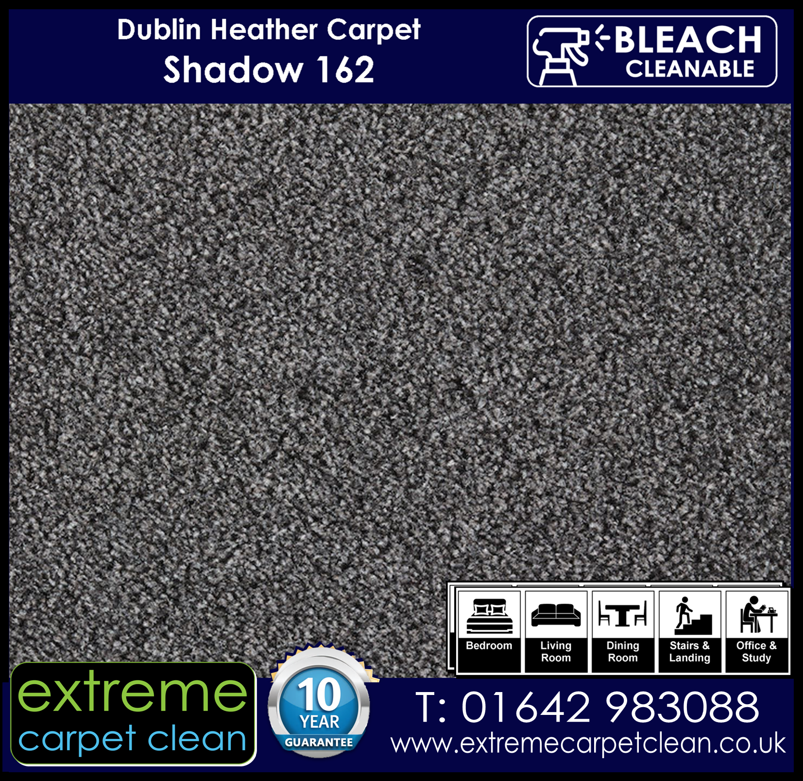 Dublin Heather Carpet Range. Shadow 162 from Extreme Carpet Clean