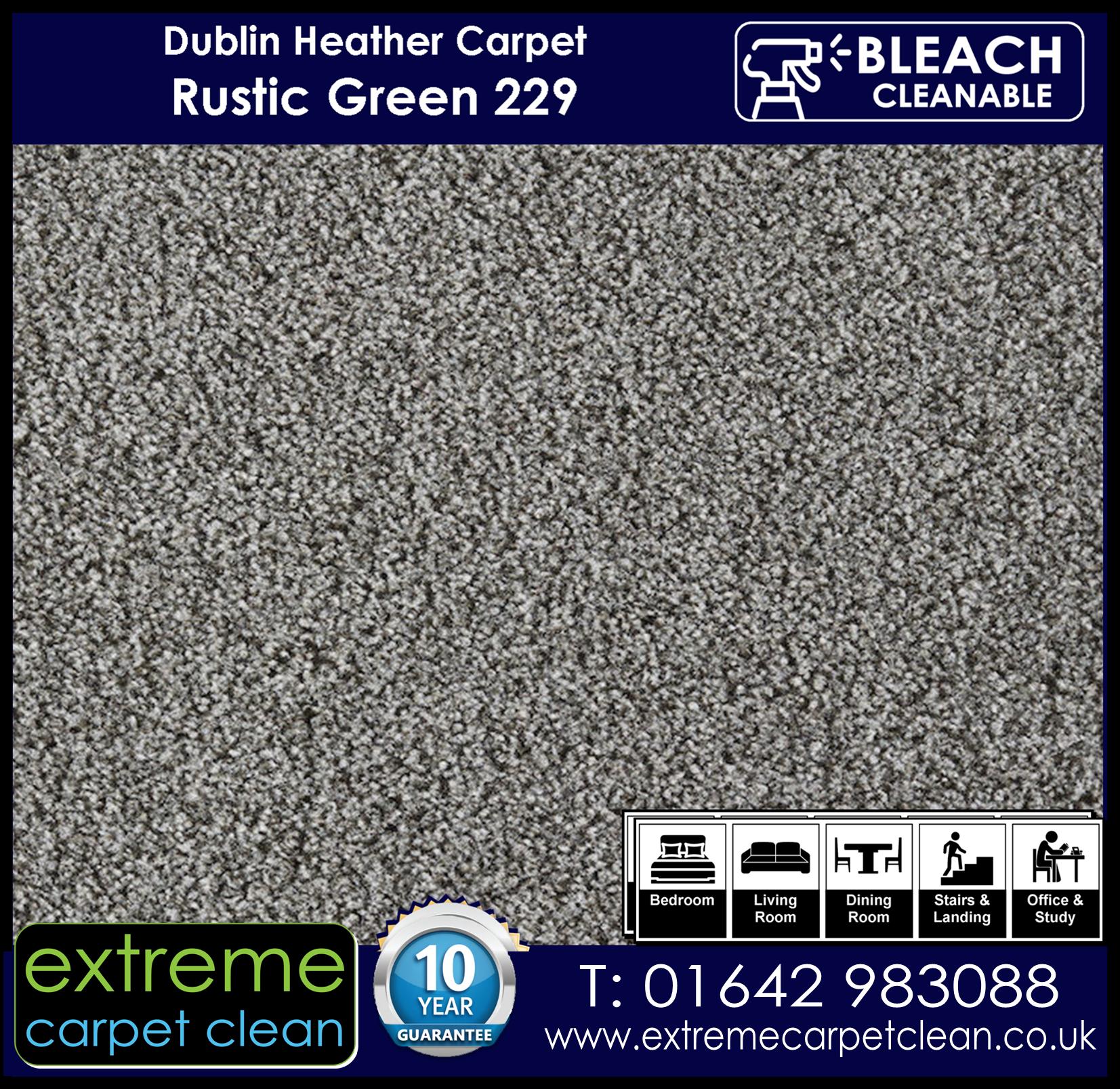 Dublin Heather Carpet Range.  Rustic Green 229 Extreme Carpet Clean