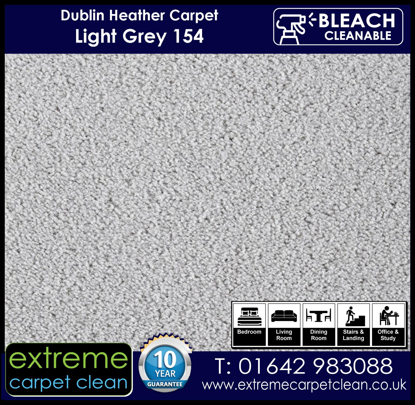 Dublin Heather Carpet Range. Light Grey 154 Extreme Carpet Clean