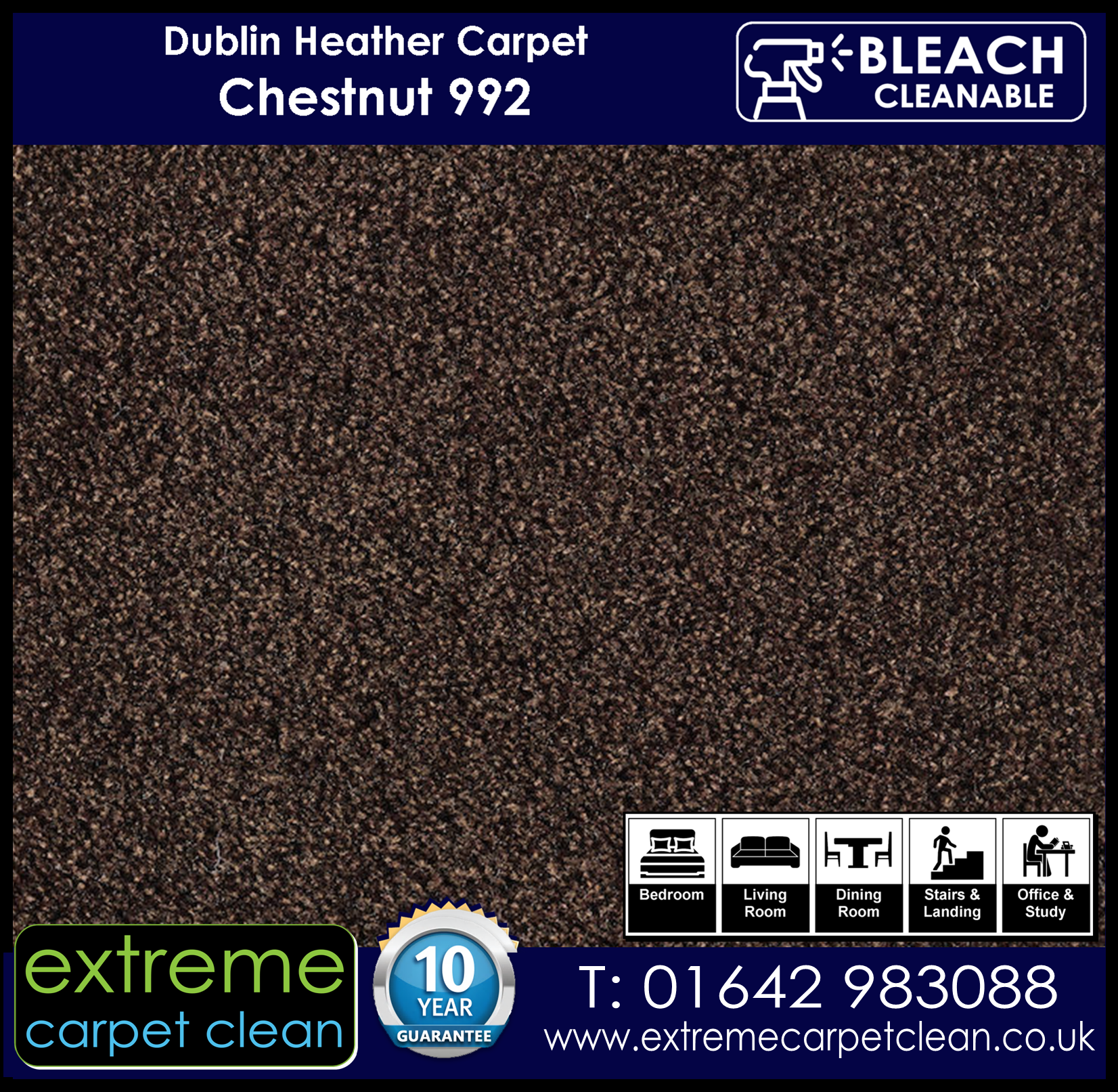 Dublin Heather Carpet Range. Chestnut 992 Extreme Carpet Clean