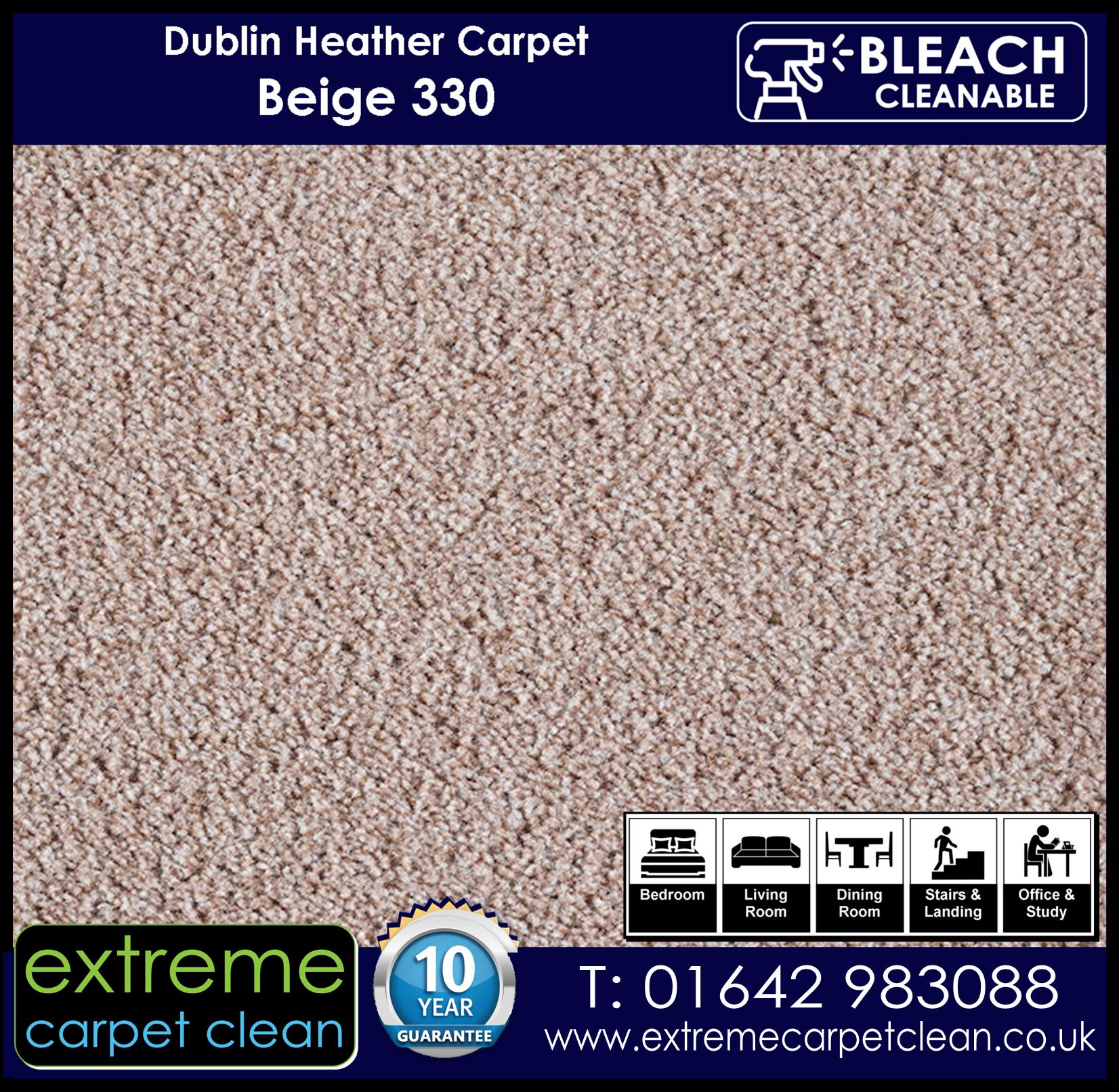 Dublin Heather Carpet Range. Beige 330 Extreme Carpet Clean