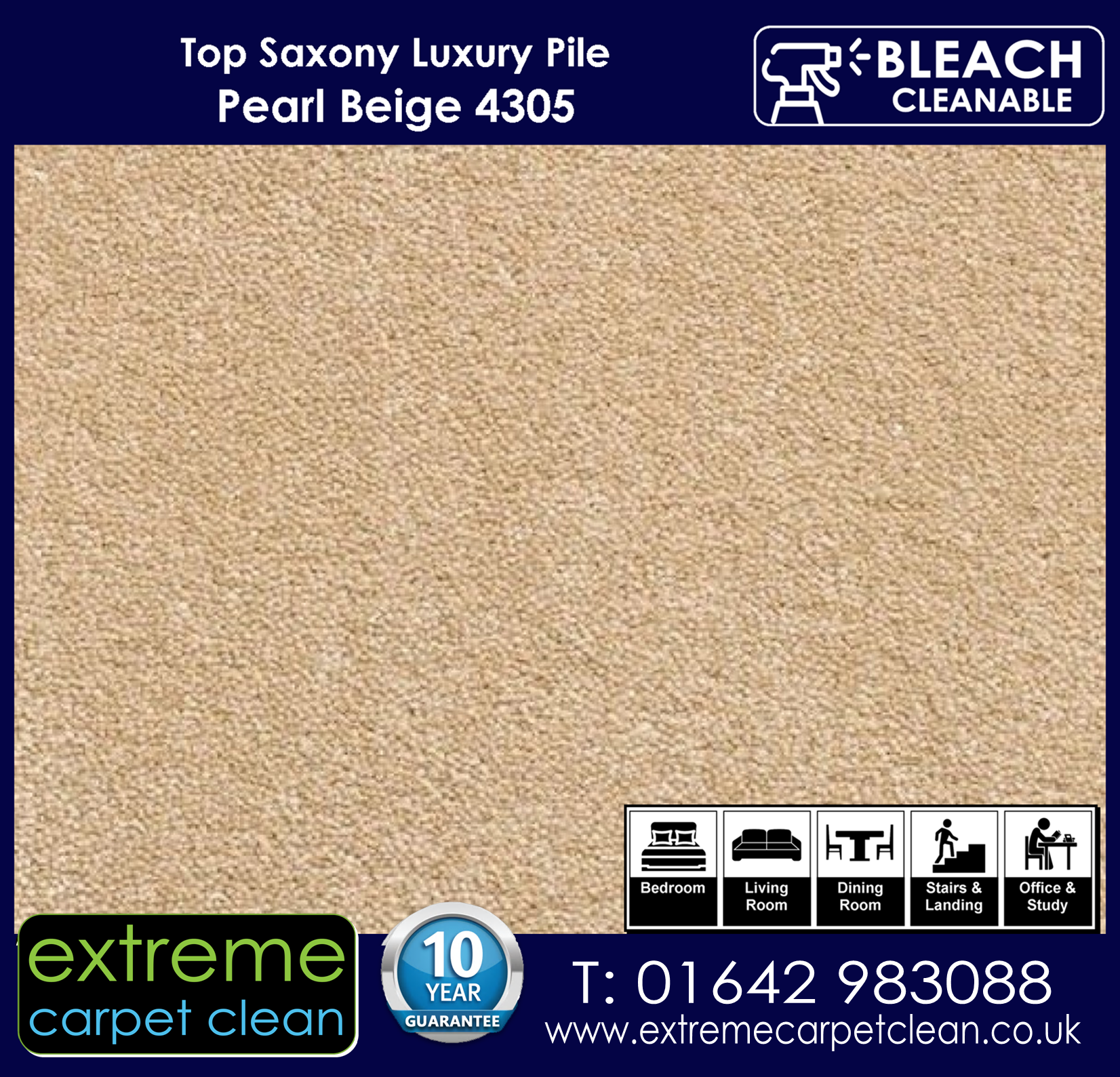 Extreme Carpet Clean Top Saxony Pearl  Carpet 4305