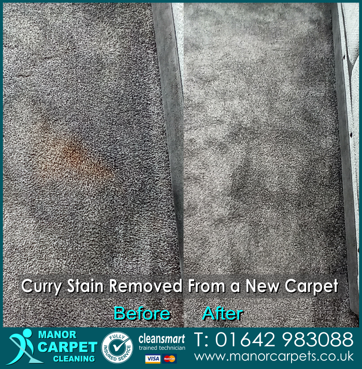 Curry Stain Removed from a new carpet 21st April 2021 Extreme Carpet Clean Middlesbrough