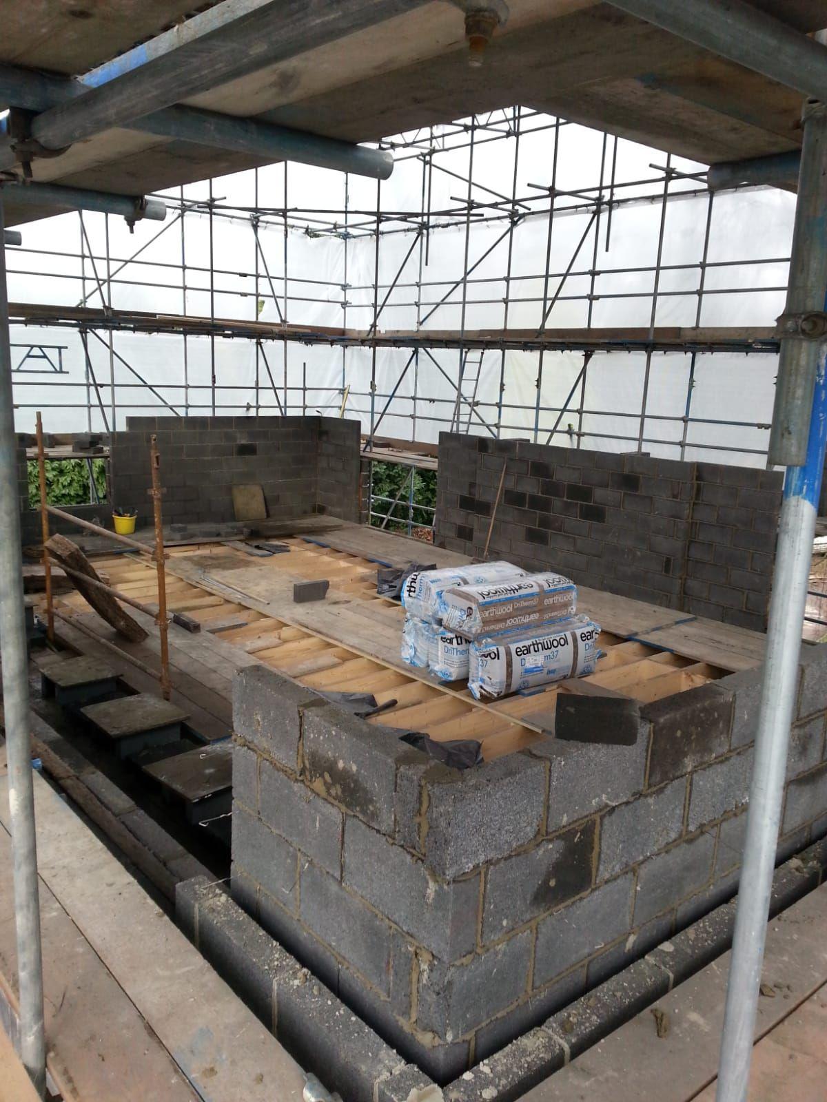 Working inside scaffolding