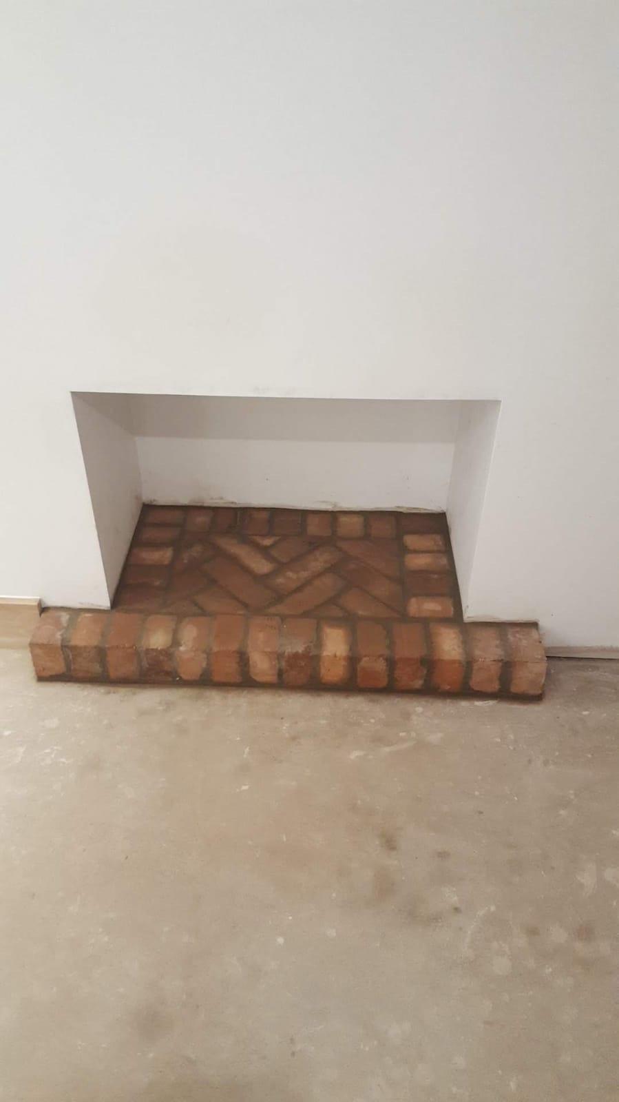 Brick fireplace hearth
