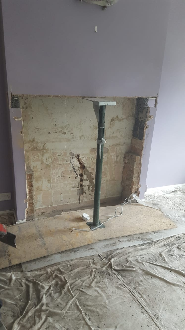 Fireplace during alteration