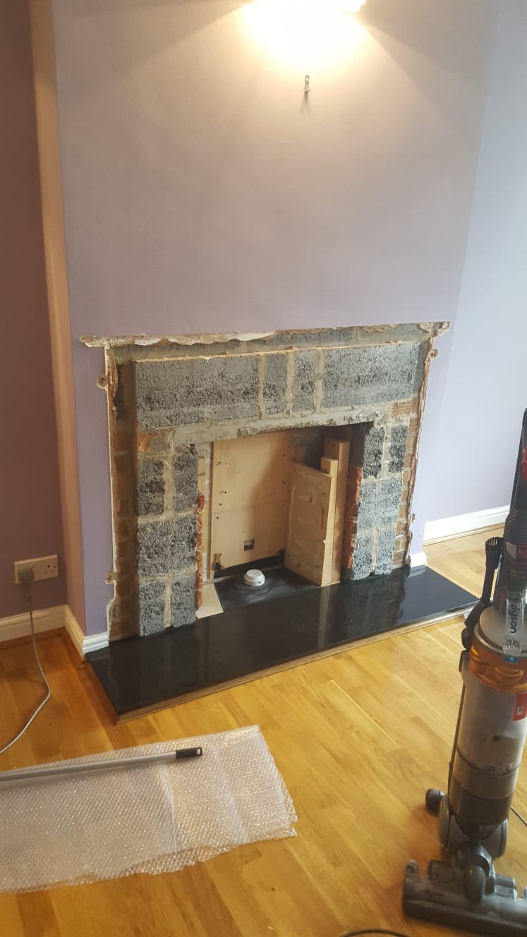 Fireplace before being changed to an electric fire