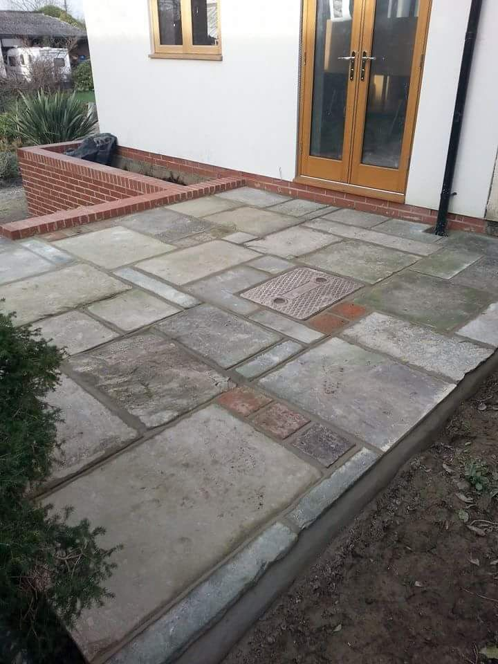 Reclaimed flagstone patio