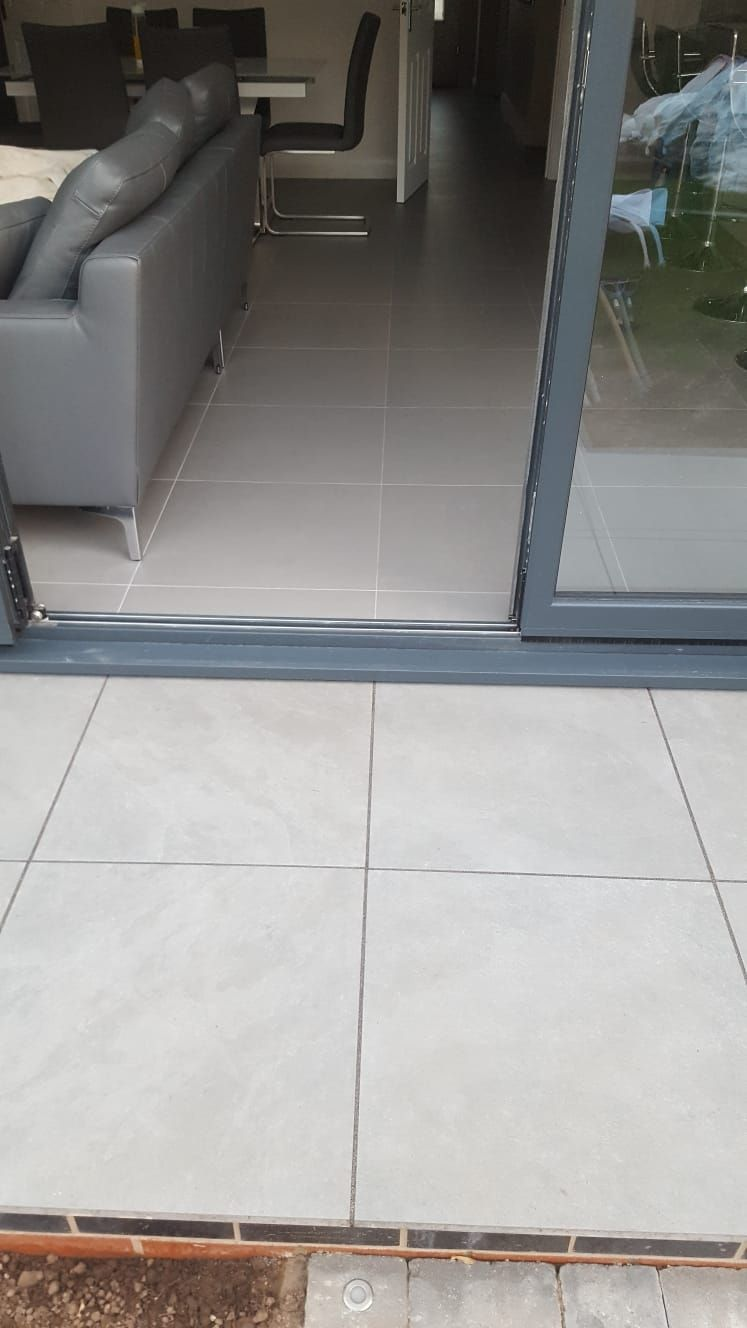 Matching interior tiles with exterior slabs