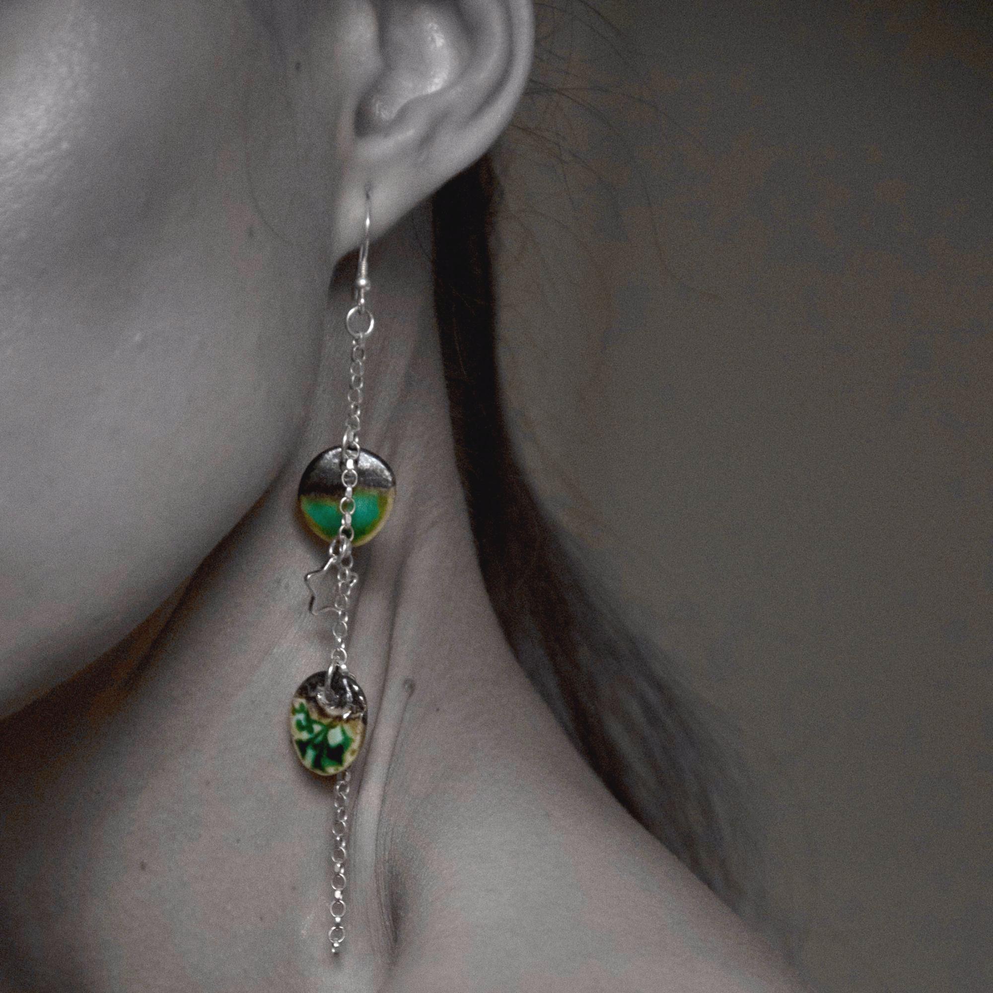 ocean green discs earrings