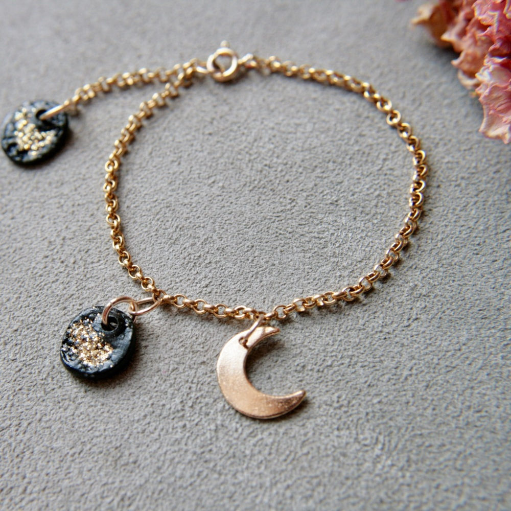 Bracelet with charms and moon