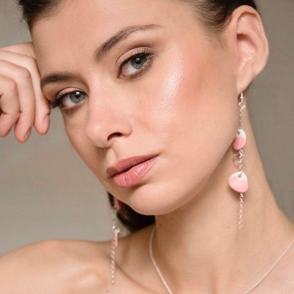 Light pink discs - dangle drop earrings