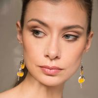 Yellow dangle earrings