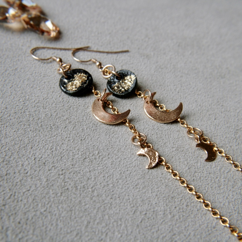 Two moons, long celestial gold earrings